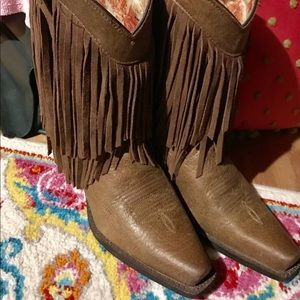 Ariat Brown Fringe Cowboy Western Boots 9